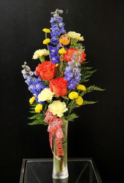 3 Roses and Blue Delphinium