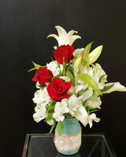 3 Roses with Day Lillies