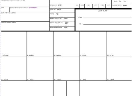 FBI Ink Card (FD-258)– Fingerprinting
