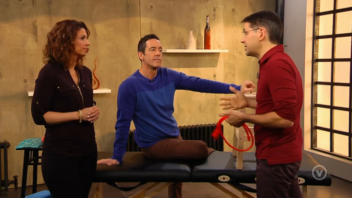 Le physiothérapeute Denis Fortier à l'émission Trucs et cie, à V Télé