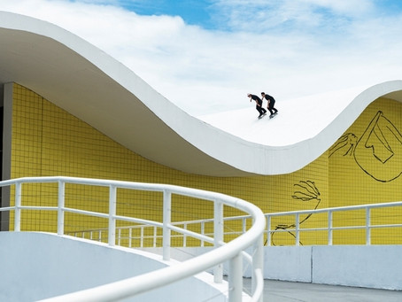 Pedro Barros and Murilo Peres skate some of Oscar Niemeyer's iconic architecture