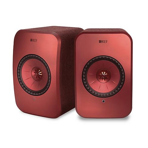 KEF LSX Wireless Music Speakers Maroon