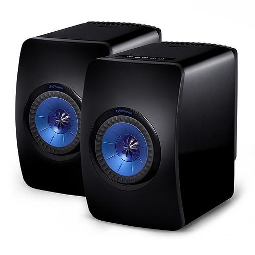 KEF LSX Wireless Speakers Gloss Blue Black