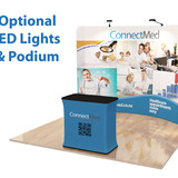 10' Curved, Tension Fabric Display with LED Lights and Podium