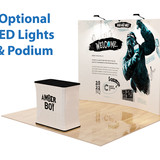 10' Curved, Velcro, Fabric Pop-Up Display with LED Lights and Podium