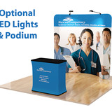 8' Curved, Tension Fabric Display with LED Lights and Podium