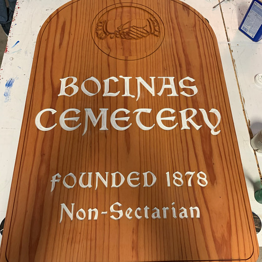 CNC Routed Double Sided Redwood Sign for Bolinas Cemetery