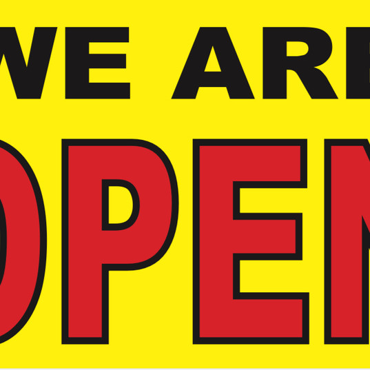 5' x 3' We Are Open Banner for Aaction Rents