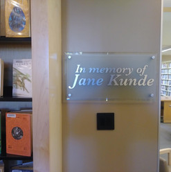 Frosted Glass Plaque with CNC Routed Brushed Aluminum Letters