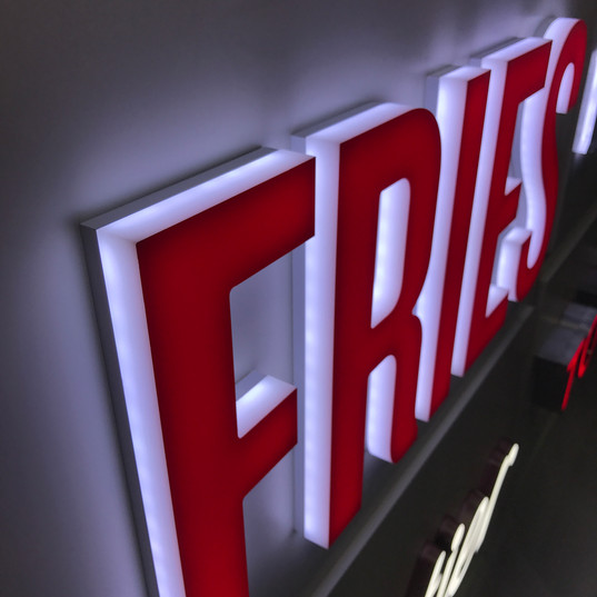 Acrylic letters with LED lighting and Translucent vinly on face