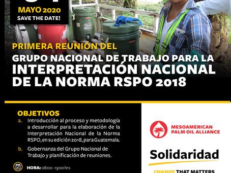 Primera reunión del grupo nacional de trabajo para la Interpretación Nacional de la Norma RSPO 2018