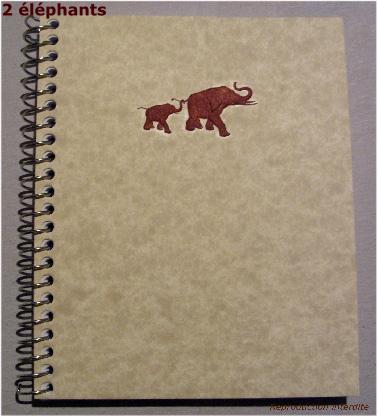 Carnet spirale 2 éléphants