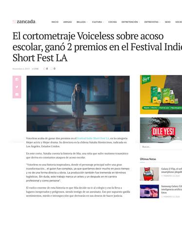 El cortometraje Voiceless sobre acoso escolar, ganó 2 premios en el Festival Indie Short Fest LA