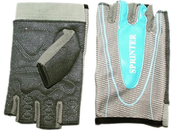 Перчатки б/п SPRINTER серые с голубой вставкой S