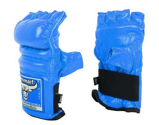 Перчатки для единоборств Roomaif MMA кожа blue RBM-124