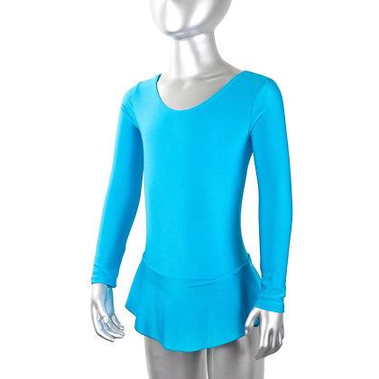 Купальник гимнастический лайкра голубой с юбкой