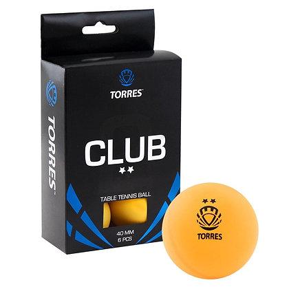 Шарик для н/т 6 шт. жёлт. Torres Club 2*