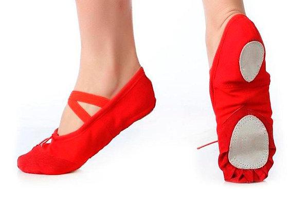 Балетки (ткань + кожа), цвет красный