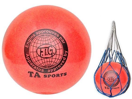 Мяч для худ. гимнастики FIG, d.15, red с добавлением глиттера