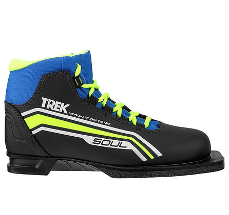 Ботинки лыж. TREK Soul 1 чёрный, лого лайм неон