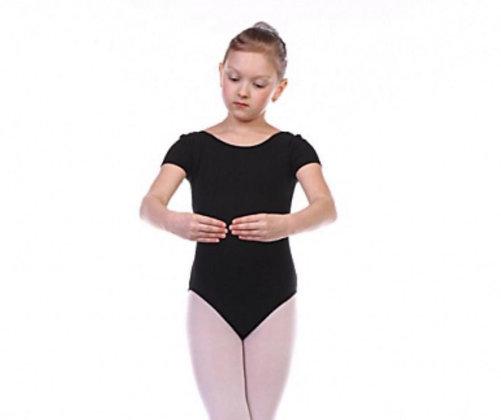 Купальник гимнастический из хлопка с коротким рукавом, чёрный 7815