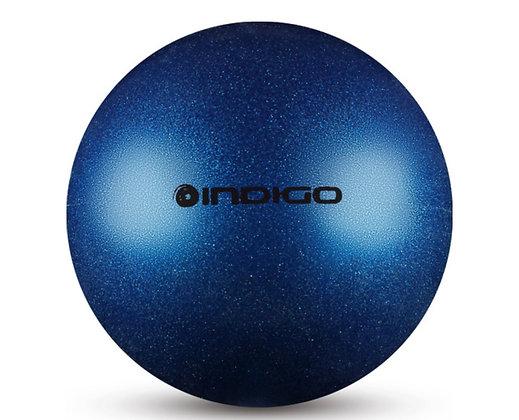 Мяч худ. гимн. INDIGO металлик с блёстками синий 15 см. 280 гр.