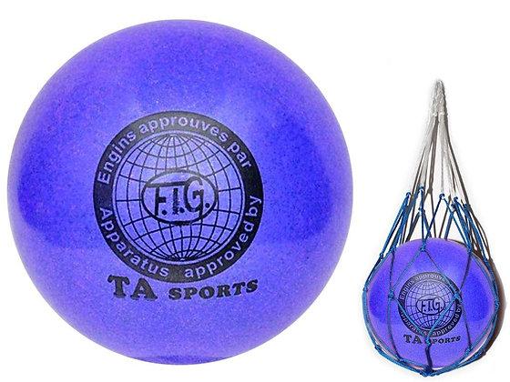 Мяч для худ. гимнастики FIG, d.15, blue с добавлением глиттера
