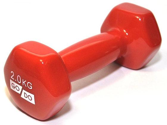 Гантель 2 кг GO DO red виниловая