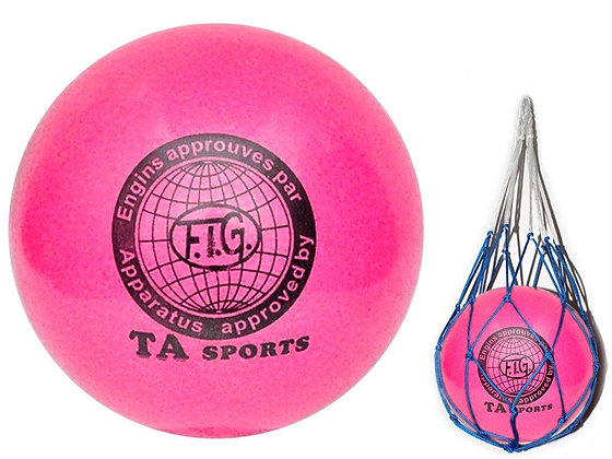 Мяч для худ. гимнастики FIG, d.15, pink с добавлением глиттера