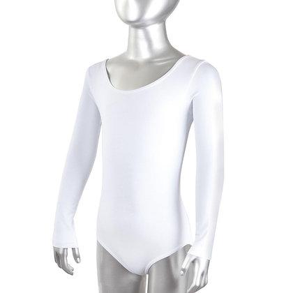 Купальник гимнастический длинный рукав белый 7810
