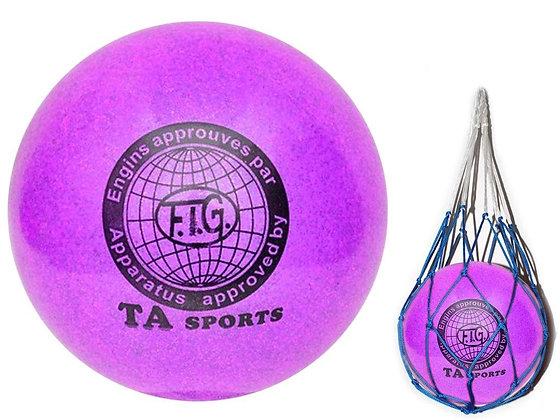 Мяч для худ. гимнастики FIG, d.15, violet с добавлением глиттера