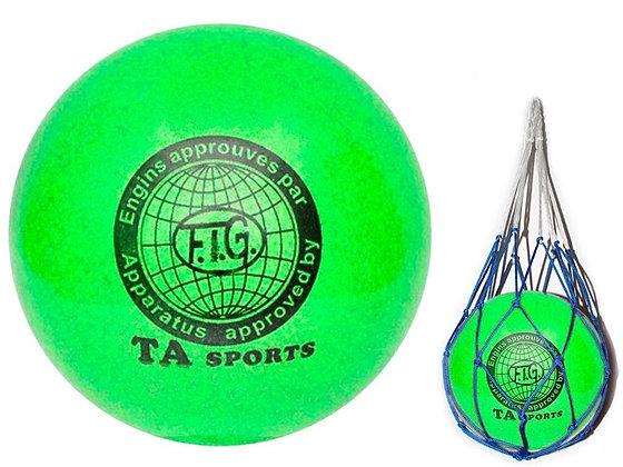 Мяч для худ. гимнастики FIG, d.15, green с добавлением глиттера