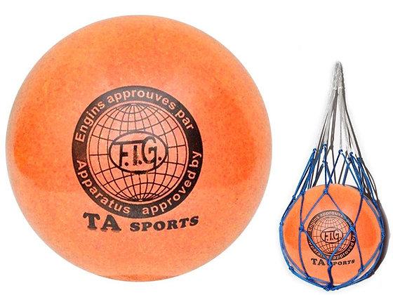 Мяч для худ. гимнастики FIG, d.15 orange с добавлением глиттера