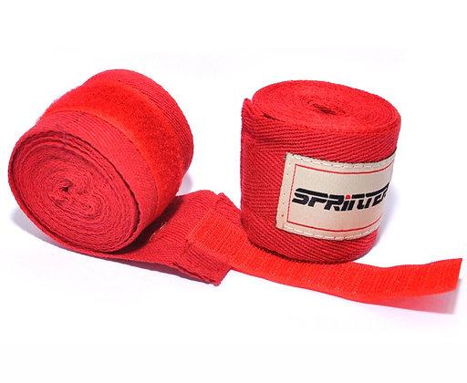 Бинт боксёрский SPRINTER 4 м. хлопок+нейлон красный
