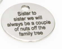 Sister or Cousin Engraved Charm Tibetan Silver