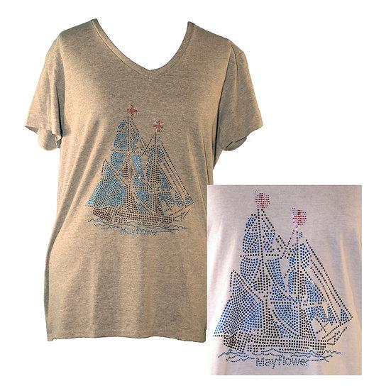 Rhinestone Mayflower Adult V-Neck Short Sleeve T-