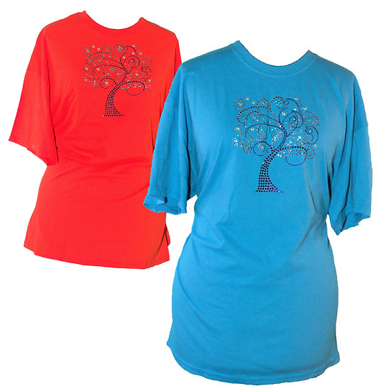 Blue Swirl Tree Adult Crew Neck Short Sleeve T-Shirt