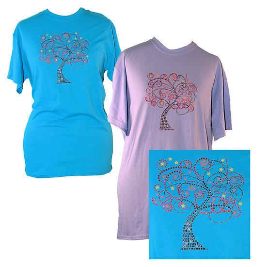 Fall Tree Rhinestone Bling Adult Crew Neck Short Sleeve T-Shirt