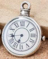 Time Clock Charm Tibetan Silver