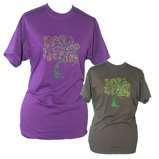 Green Tree Rhinestone Bling Adult Crew Neck Short Sleeve T-Shirt