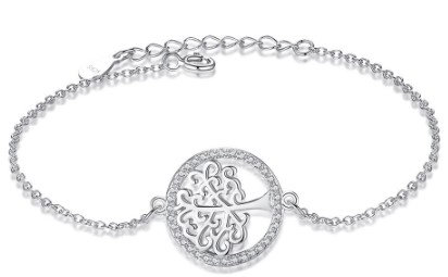 Sterling Silver Tree Bracelet with Austrian Crystals