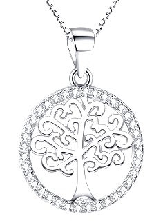 Sterling Silver Tree Pendant with Austrian Crystals