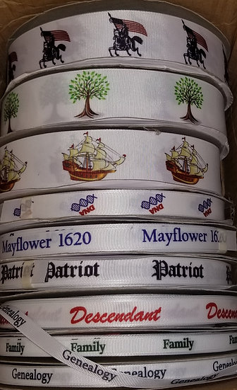 Ribbon Genealogy Pioneer Trek Family History Mayflower Sailboat Ship Patriot DNA