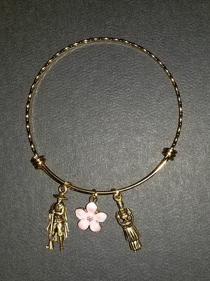 Bangle Bracelet Mayflower 400 Year Anniversary Charm Set 24K Gold Dipped