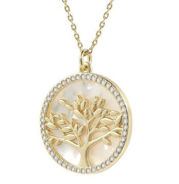 Mother of Pearl Austrian Crystal Tree Pendant