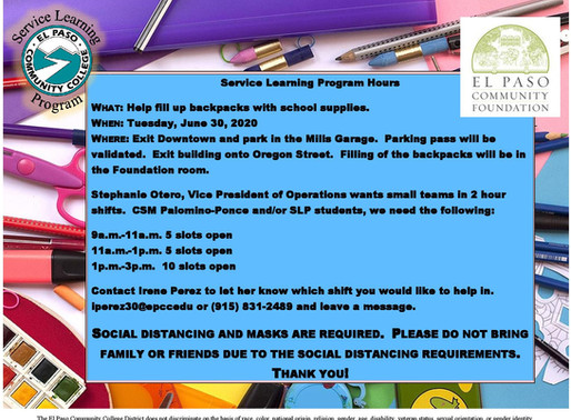 Fill up backpacks with school supplies