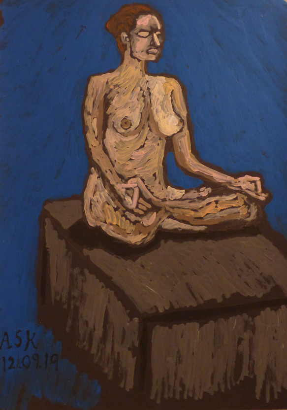 Female Nude in lotus pose