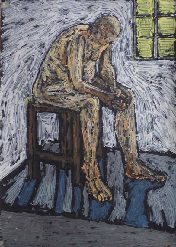 Male nude seated forward