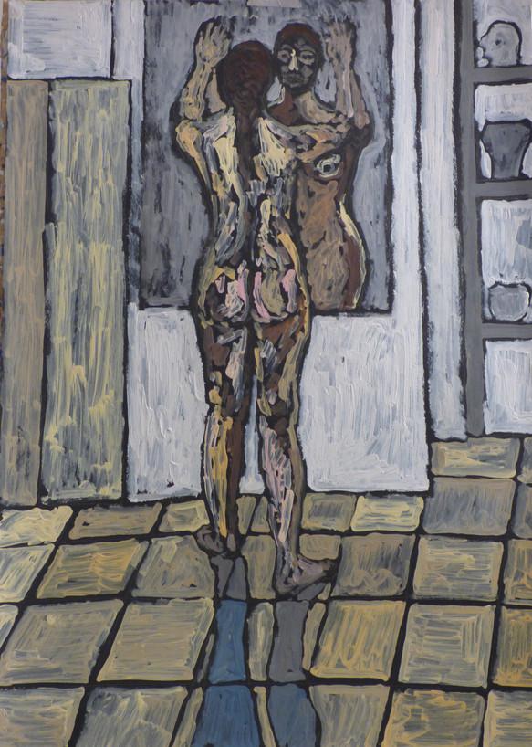 Female nude facing mirror