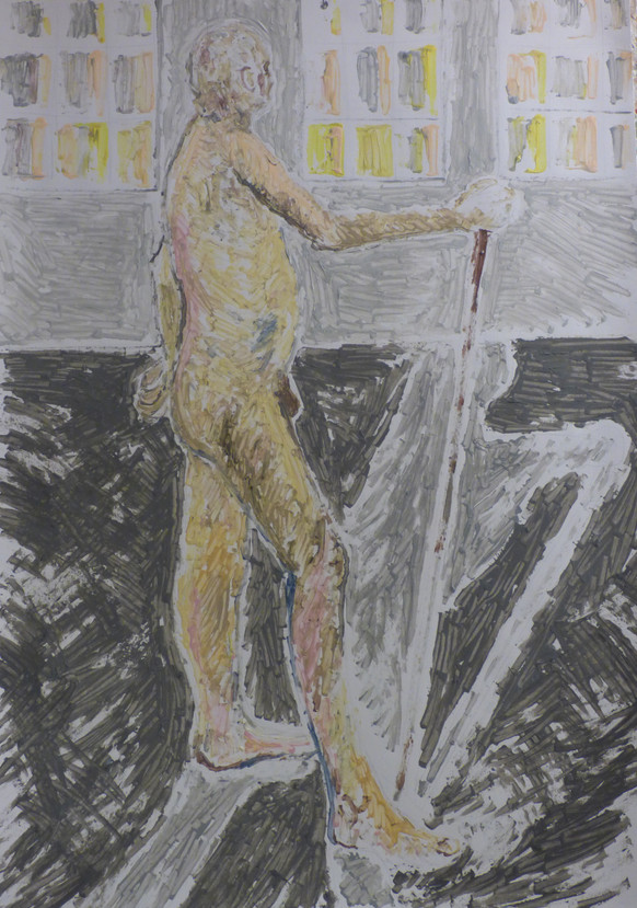 Male nude with stick